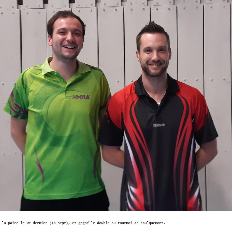 Victoire du double au tournoi de Faulquemont le 18 Septembre 2021.
